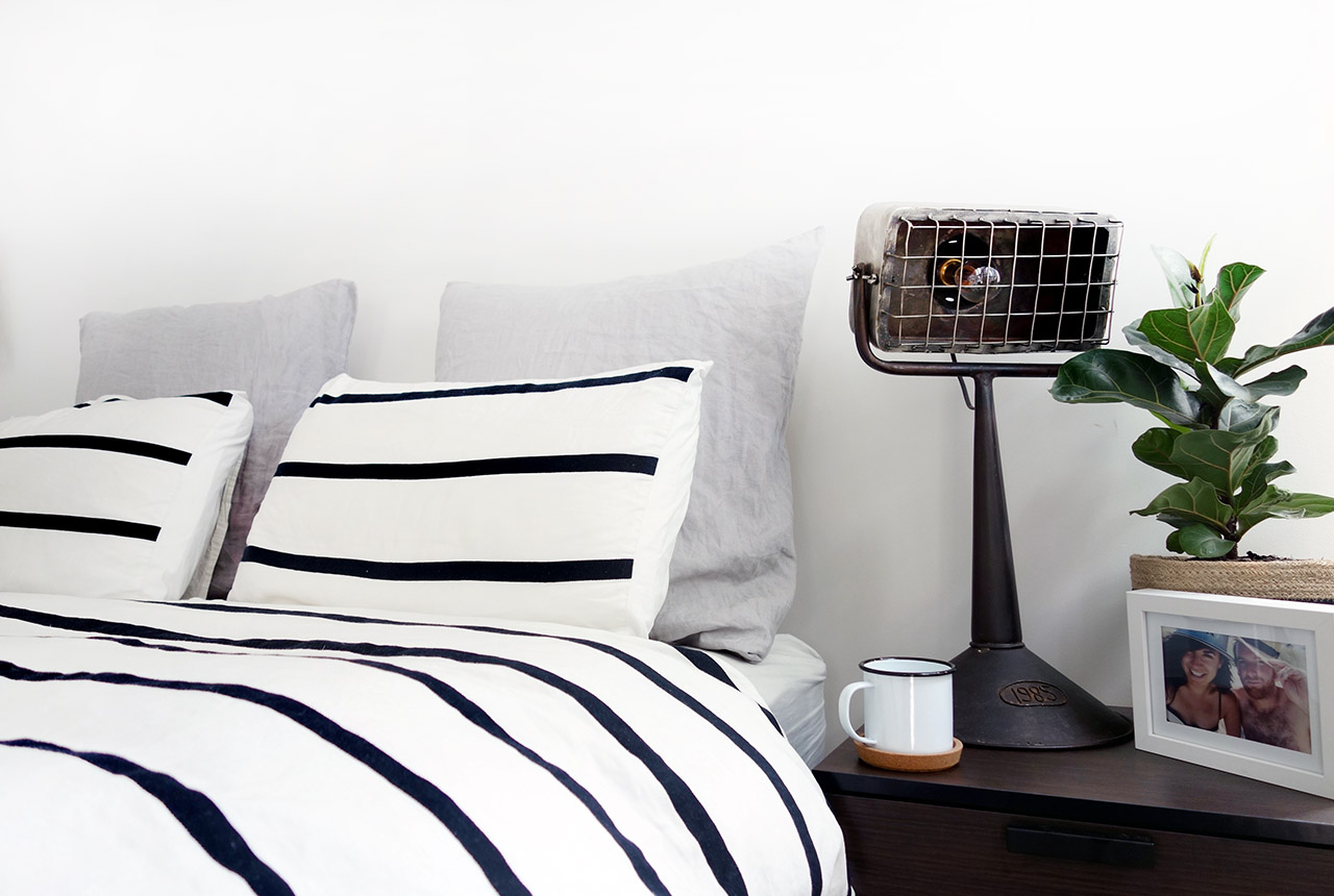 surry-hills-sydney-luxury-apartment-country-road-augie-striped-duvet-industrial-lamp-leopald-hall-20