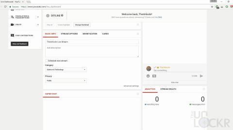 Enter YouTube Stream Info