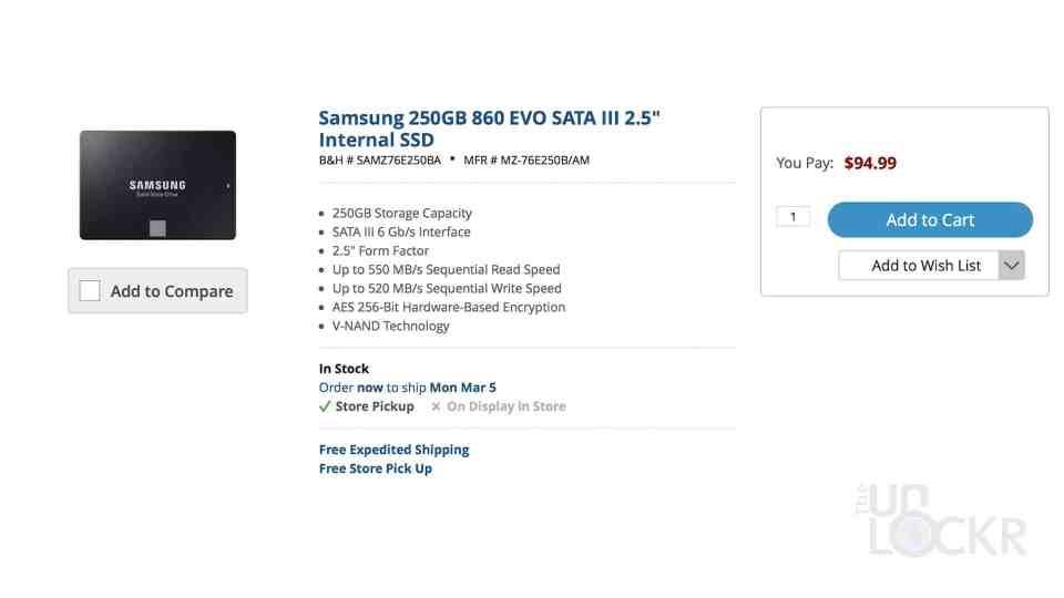 Samsung 860 EVO SSD Price