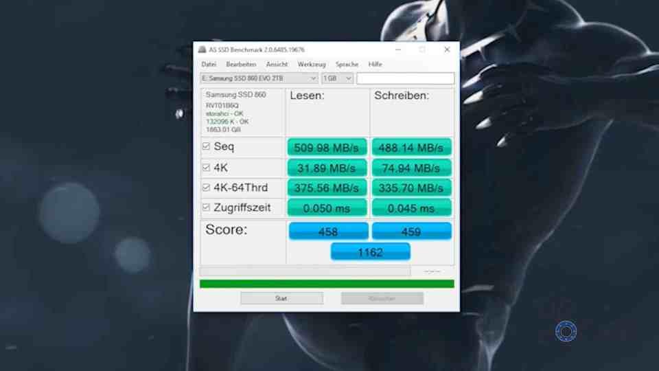 Samsung 860 EVO SSD Speed Test