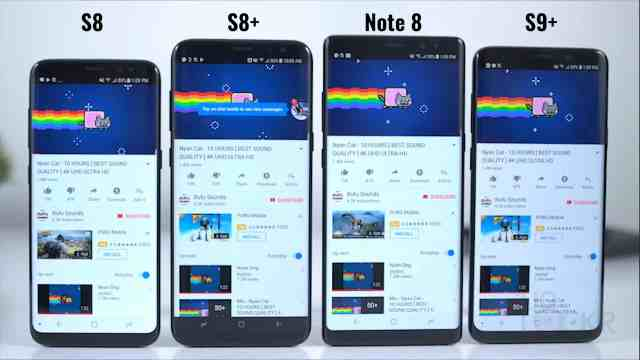 S9+ vs S8+ vs S8 vs Note8 Battery Test