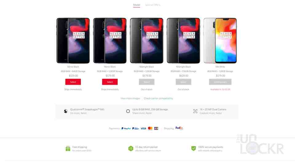 OnePlus 6 Pricing