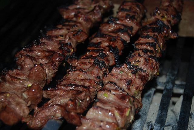 Sirloin Kabobs in the Midst of Cooking
