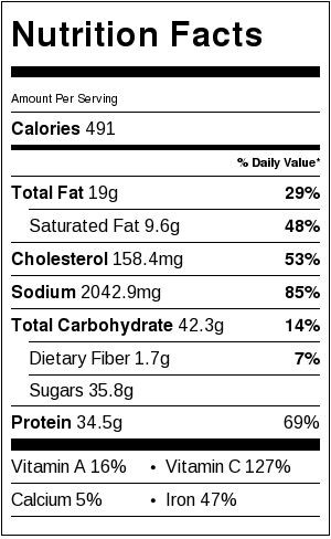 Duck Al Orange Nutrition Facts