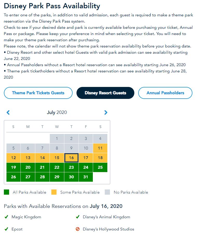 Disney Park Pass reservation availability calendar