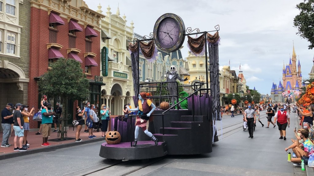 Jack Skellington and the 'Nightmare Before Christmas' crew cruise down Main Street U.S.A. during daily character cavalcades celebrating Halloween 2020 at Walt Disney World's Magic Kingdom