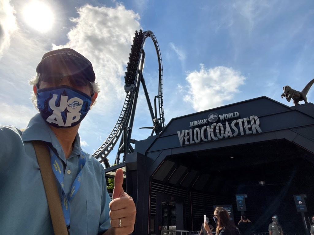 Jurassic World VelociCoaster entrance with Unofficial Guide to Universal Orlando author Seth Kubersky