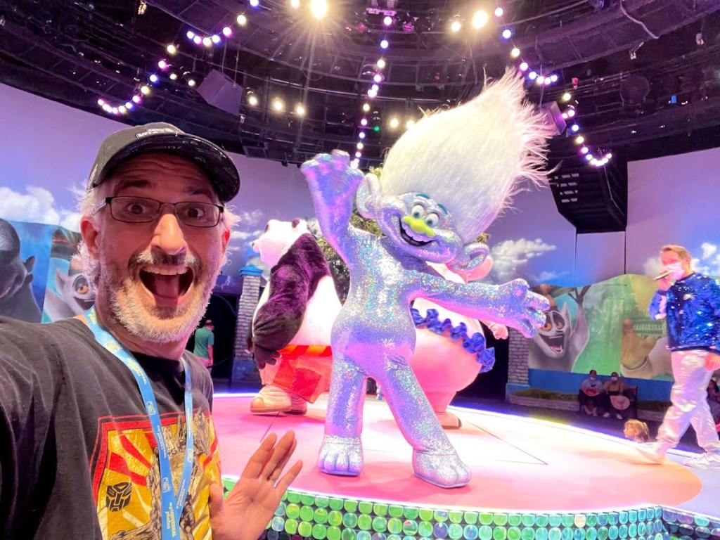 Guy Glitter Troll at DreamWorks Destination in Universal Orlando without face masks
