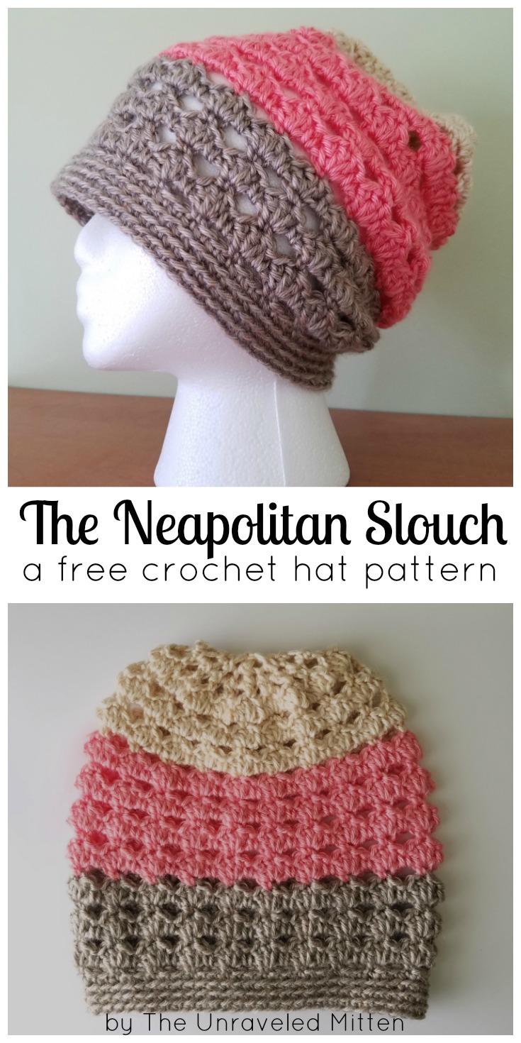 Neapolitan Eyelet Crochet Slouchy Hat Free Pattern