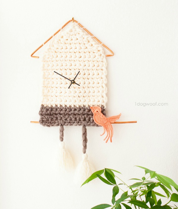 Crochet Mother's Day Gift Ideas: Yarn Cuckoo Clock Wall Hanging by One Dog Woof