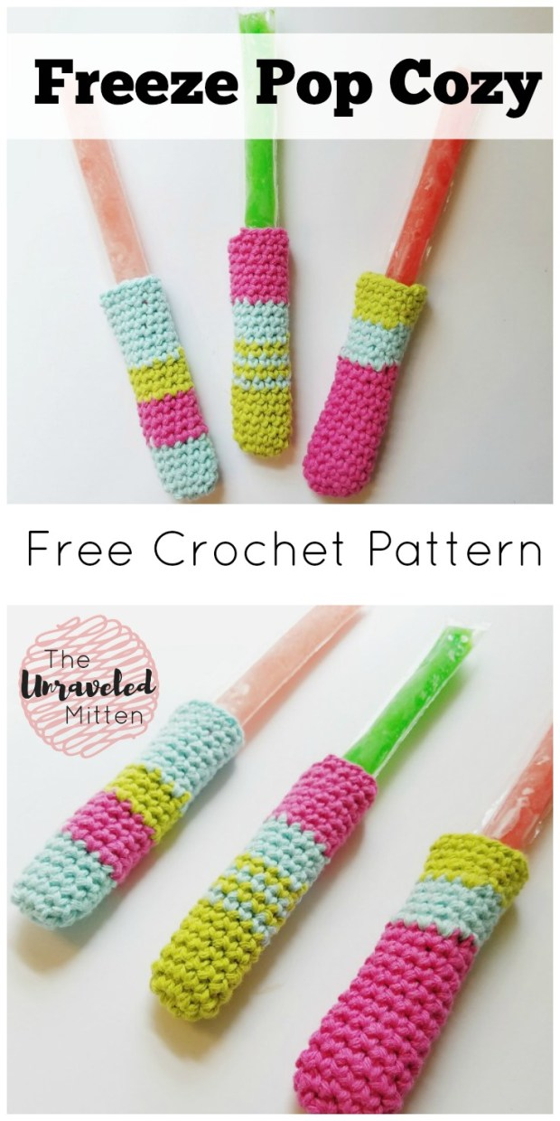 Freeze Pop Cozy | Free Easy Crochet Pattern | The Unraveled MItten | Beginner | Craft Shows | Popsicle | Stash buster | cotton yarn