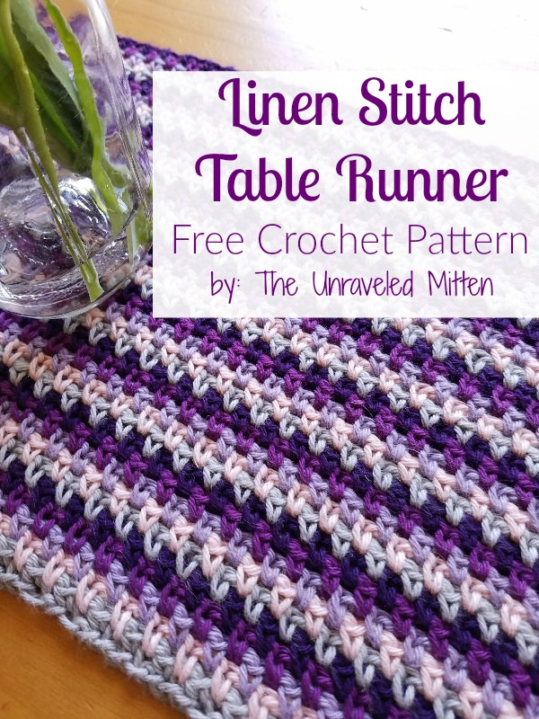 Linen Stitch Crochet Table Runner Free Pattern The Unraveled Mitten