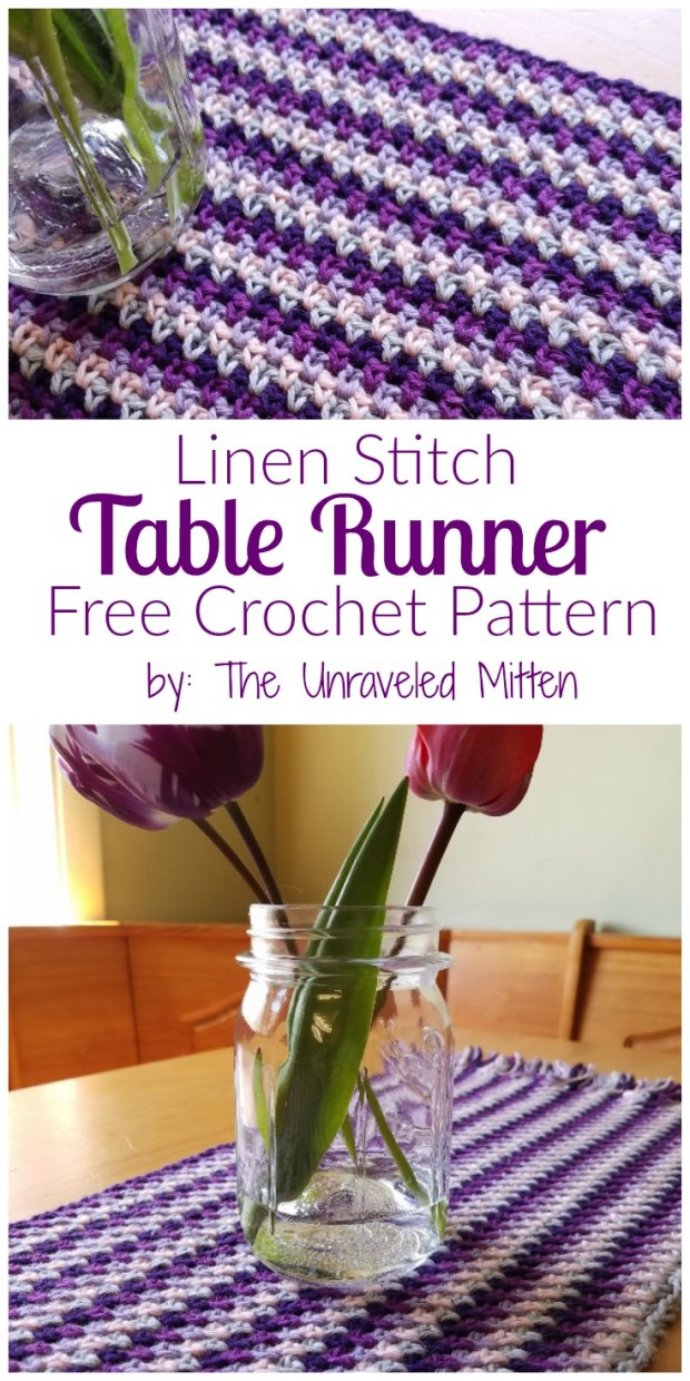 Linen Stitch Table Runner: Free Crochet Pattern by The Unraveled Mitten
