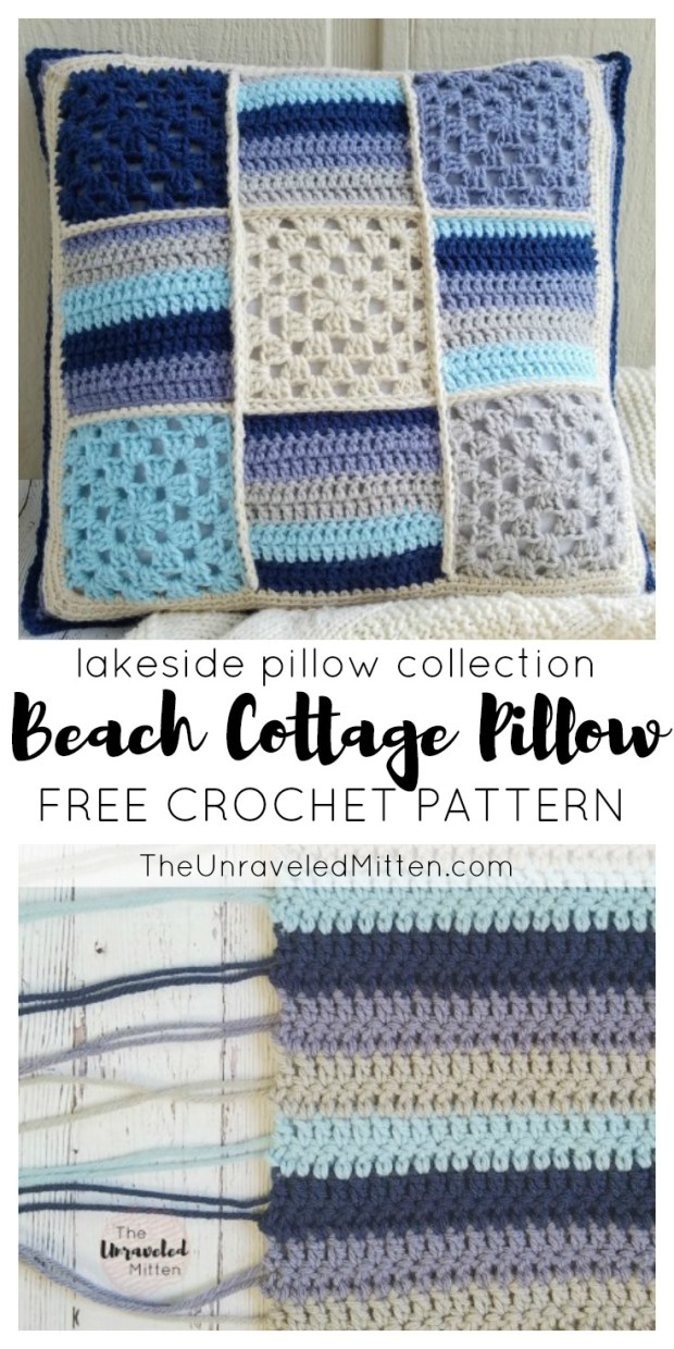 Beach Cottage Pillow | Free Crochet Pattern | The Unraveled Mitten