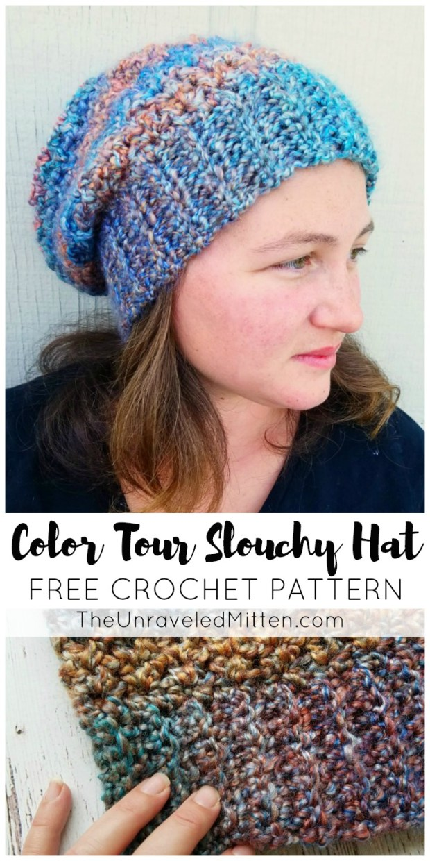 Color Tour Slouchy Hat | Free Easy Crochet Pattern | The Unraveled MItten | Homespun Yarn |
