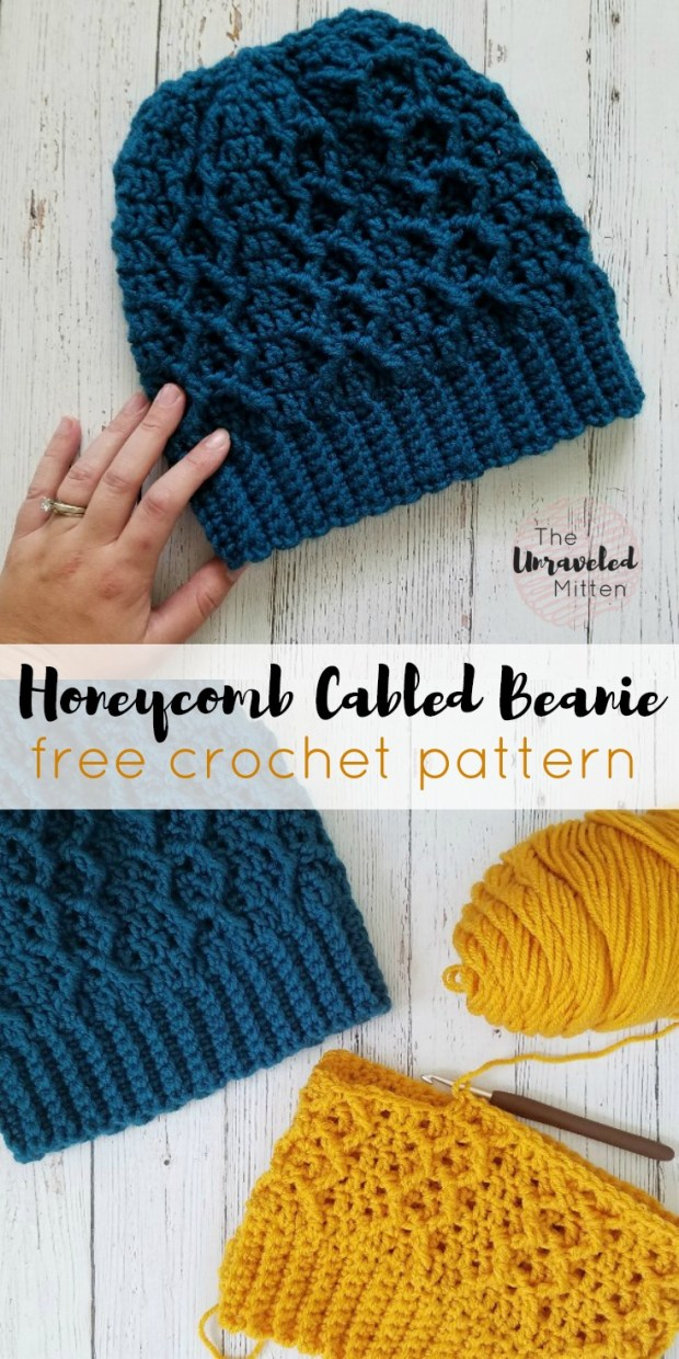 Honeycomb Cabled Beanie | Free Crochet Pattern | The Unraveled Mitten