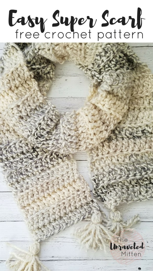 Easy Chunky Super Scarf | Free Beginner Crochet Pattern | The Unraveled MItten