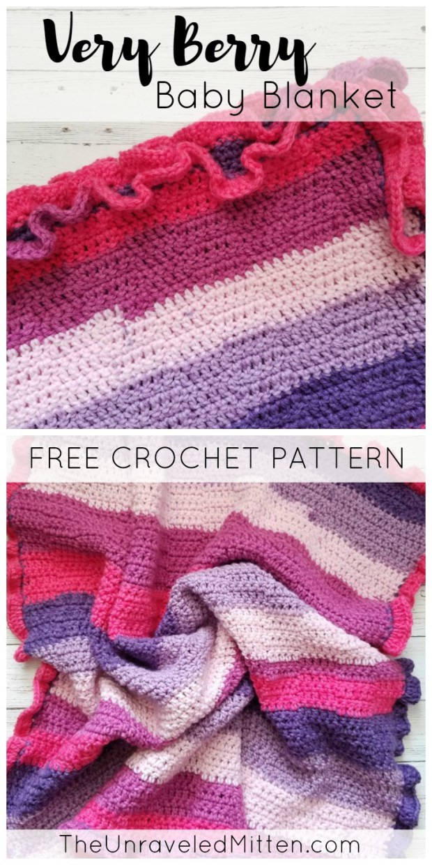 Very Berry Baby Blanket | Free Easy Crochet Pattern | The Unraveled Mitten | Bernat Pop Yarn