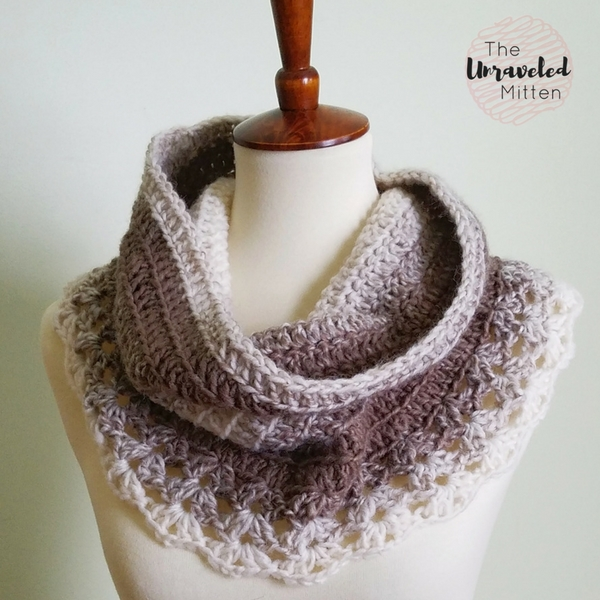 Petoskey Lace Cowl Free Crochet Pattern The Unraveled Mitten