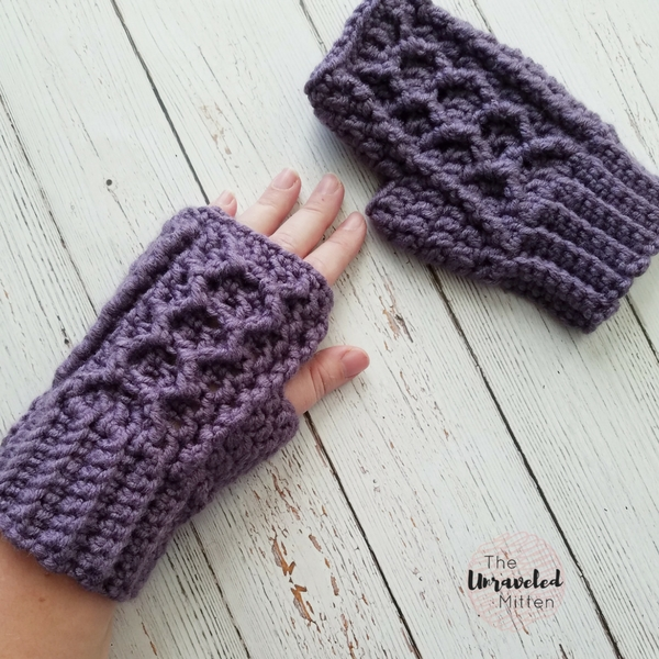 Honeycomb Cabled Fingerless Gloves Free Crochet Pattern The