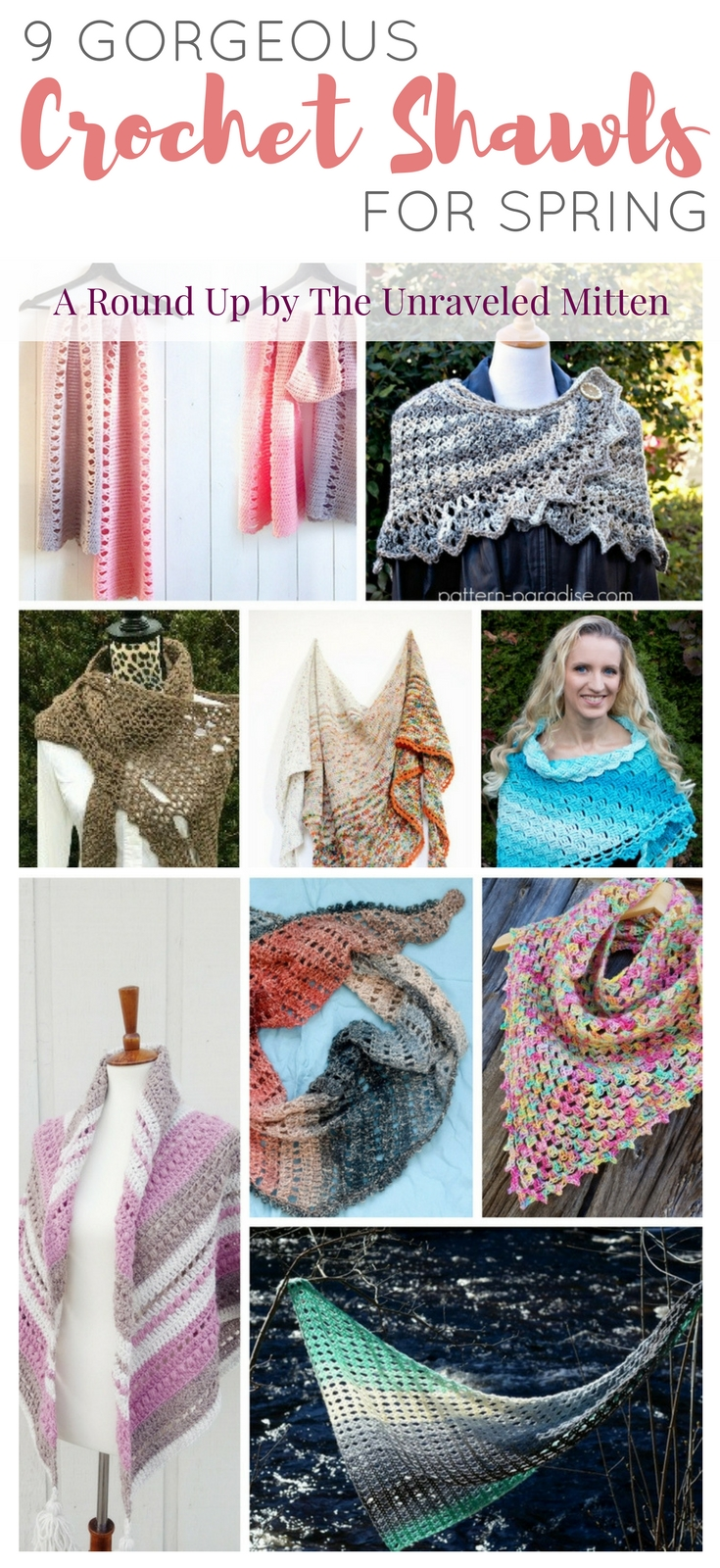 9 Gorgeous Crochet Shawls for Spring   A crochet pattern round up compiled by The Unraveled Mitten