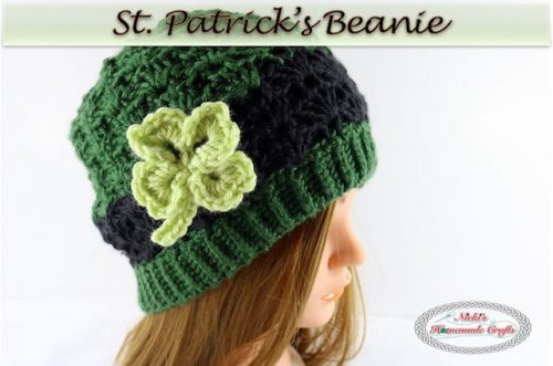 St. Patrick's Beanie | Part of a St. Patrick's Day Crochet Pattern round up on The Unraveled Mitten