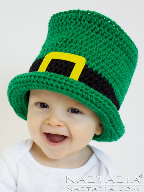 Crochet Top Hat | Baby Toddler child adult sizes | Part of a St. patrick's Day Crochet Pattern Round up by The Unraveled Mitten