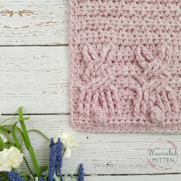 Cute Cable Crochet Bunny Square Close Up | The Unraveled Mitten