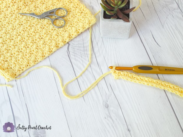 Crochet Lemon Peel Stitch Tutorial Row 1 Completed