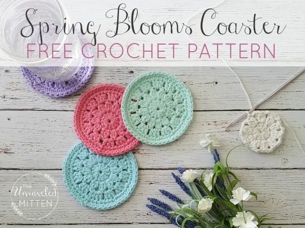 Spring Blooms Crochet Coaster Free Pattern The Unraveled Mitten Classy Crochet Coaster Pattern