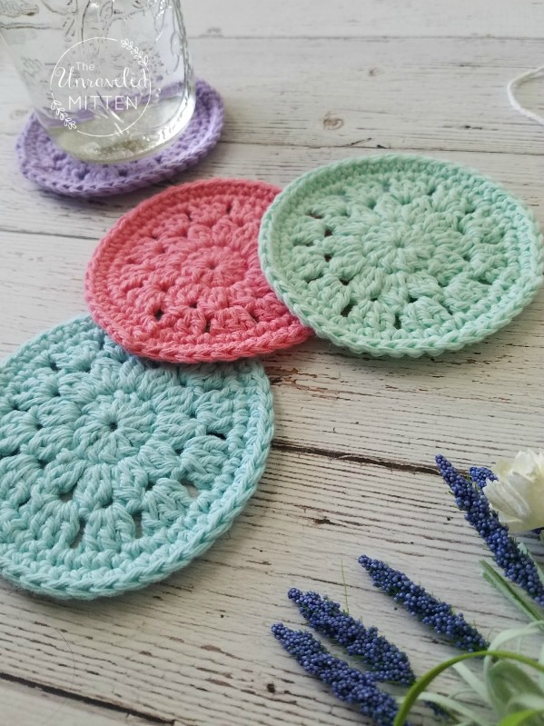 Spring Blooms Crochet Coaster Free Crochet Pattern | The Unraveled Mitten