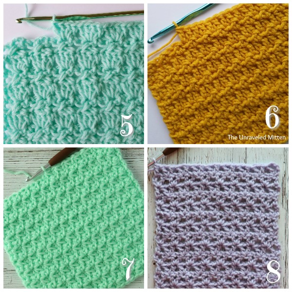12 Stunning Crochet Stitches | The Unraveled Mitten | Cabbage Patch Stitch | Floret Stitch } Trinity Stitch | Offset V Stitch