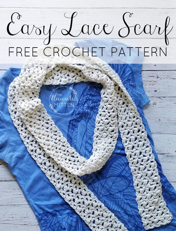Easy Lace Crochet Scarf | Free Crochet Pattern for summer! | The Unraveled Mitten