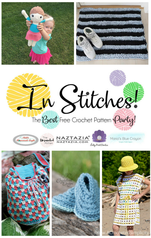 In Stitches #14 | Best Free Crochet Pattern Party | The Unraveled Mitten | Amigurumi | Bag | Beach Cover Up | Baby Booties | Door Mat Rug