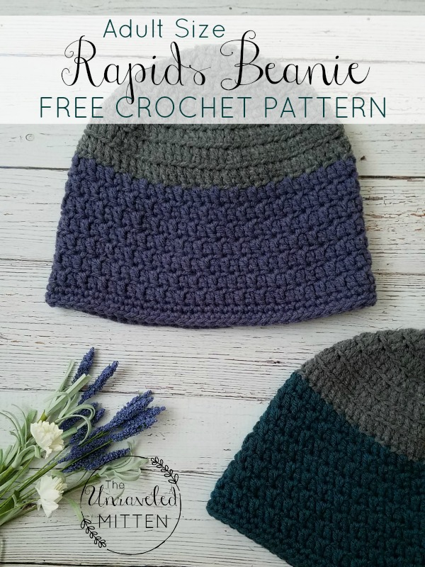 Rapids Beanie Free Crochet Pattern Adult Sizes The Unraveled Mitten