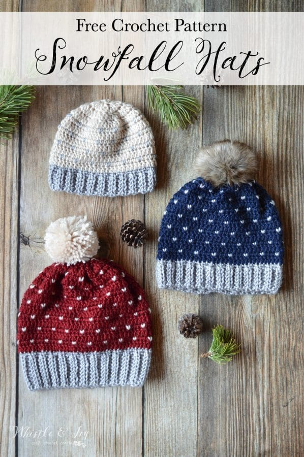 Snowfall Hat by Whistle and Ivy | Part of a FREE Crochet Hat Pattern Round up on The Unraveled Mitten