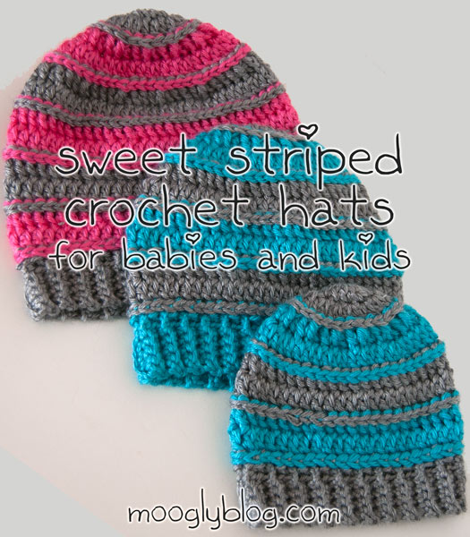 Sweet Striped Beanie by Moogly | Part of a FREE Crochet Hat Pattern Round up on The Unraveled Mitten