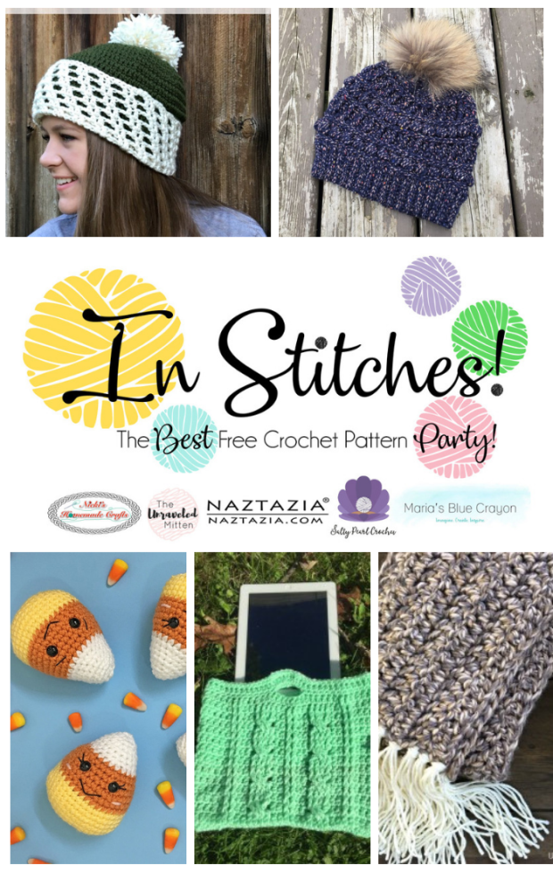 In Stitches #22 | Free Fall Crochet Patterns | The Unraveled Mitten | This weeks featured crochet patterns include two fall inspired hats, a crochet cable bag, an easy super scarf and the cutest candy corn amigurumi
