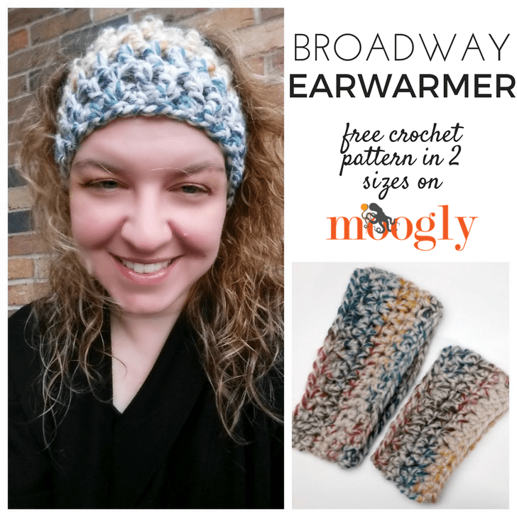9 Free Crochet Patterns using Wool-Ease Thick and Quick in Hudson Bay | Broadway Earwarmer by Moogly | part of a round up The Unraveled Mitten