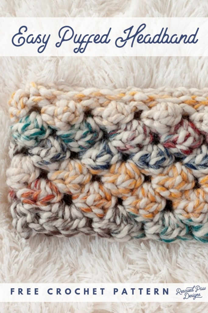 9 Free Crochet Patterns using Wool-Ease Thick and Quick in Hudson Bay | Puffed Headband by Rescued Paw Designs | part of a round up The Unraveled Mitten