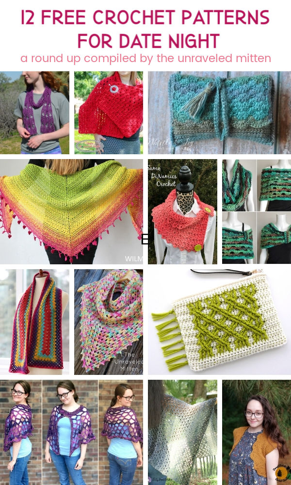 12 Free Crochet Patterns For Date Night | A Round Up Compiled by The Unraveled Mitten