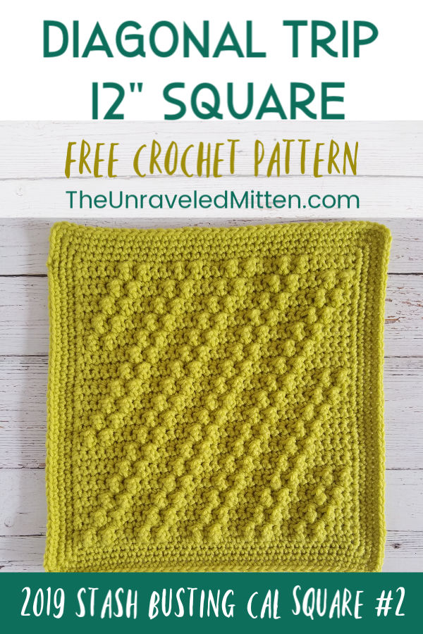 "Diagonal Trip Crochet Stitch | Free Crochet Pattern | 12"" Crochet Square 