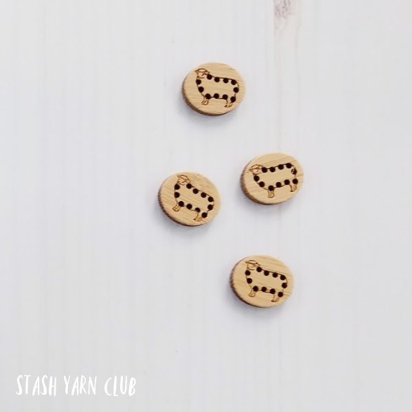 Katrinkles Stitch-able Sheep Buttons | Stash Yarn Club