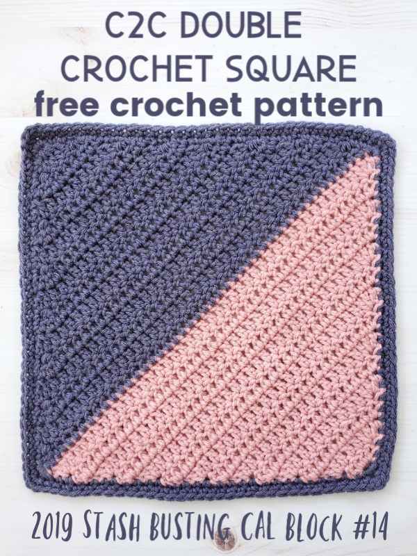 C2C Double Crochet Square | Free Crochet Pattern | The Unraveled Mitten | 2019 Stash Busting Sampler Afghan CAL