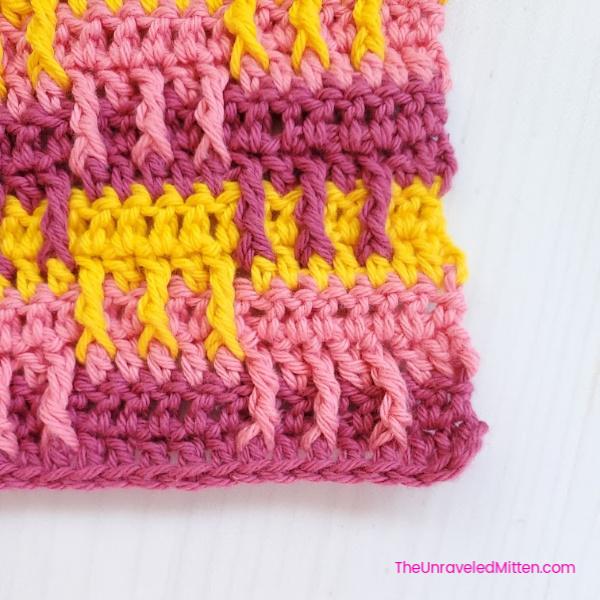 Broken Stripes Dishcloth | Free Crochet Pattern | The Unraveled Mitten