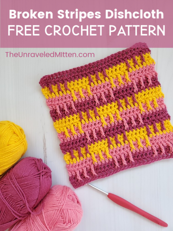 Broken Stripes Dishcloth Free Crochet Pattern | The Unraveled Mitten | Drop-down crochet post stitches are used to create the fun textured dishcloth. #freecrochetpattern #crochet #crochetdishcloth