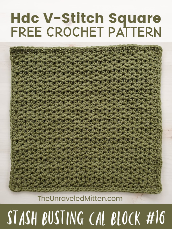 Learn to crochet the half double crochet v stitch | Free Crochet Pattern | The Unraveled Mitten
