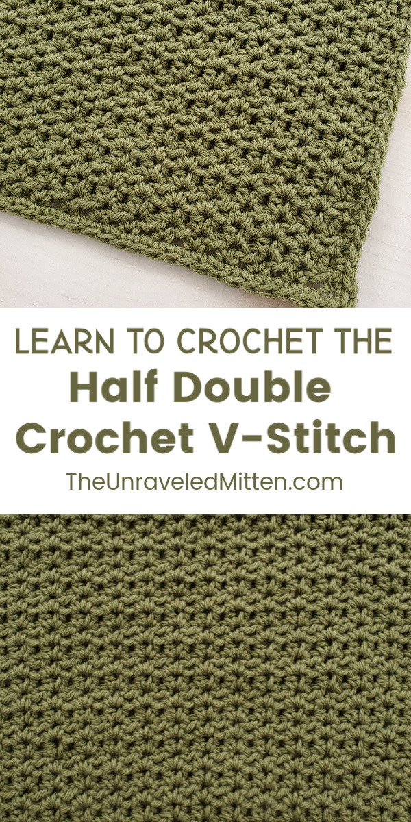 Learn to crochet the half double crochet v stitch | The Unraveled Mitten