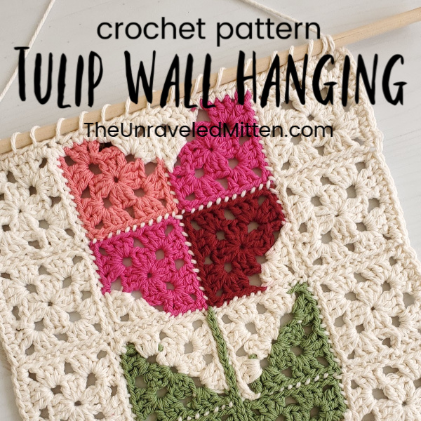 Tulip Granny Square Wall Hanging | The Unraveled Mitten