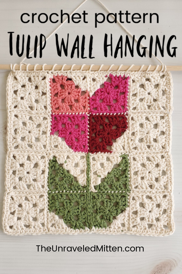 Decorate your home for spring or make one for a Mother's Day Gift! This easy granny square wall haning is a great project to use your cotton yarns.
